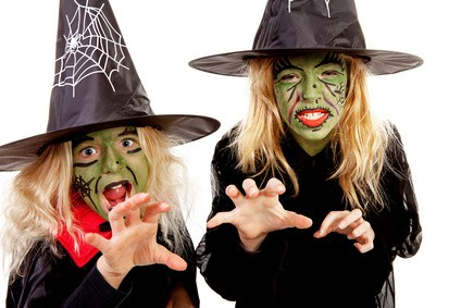Two scary little green witches for Halloween