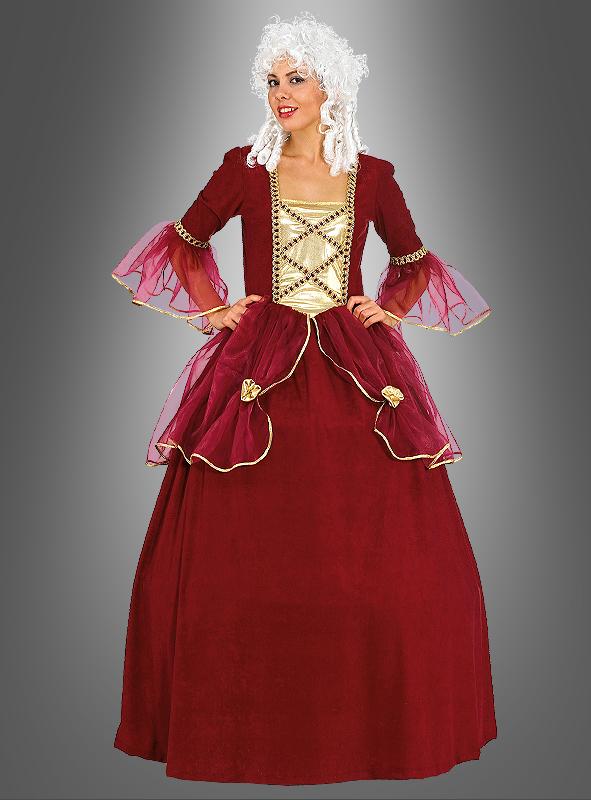 Bild: Eine Frau in rotem Barockkleid mit historischer Perücke aus der Barock Zeit.